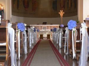 Allestimento chiesa con ortensia