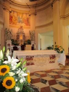chiesa con girasoli a Padova