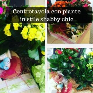 Centrotavola con piante in stile shabby chic