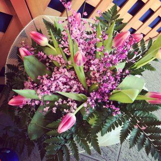 Bouquet con tulipani rosa