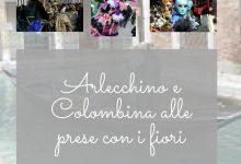 Arlecchino e Colombina alle prese con i fiori