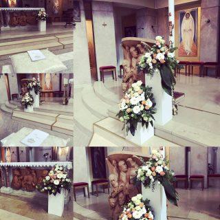 Composizioni di fiori bianco e arancio per un matrimonio a Sarmeola di Rubano